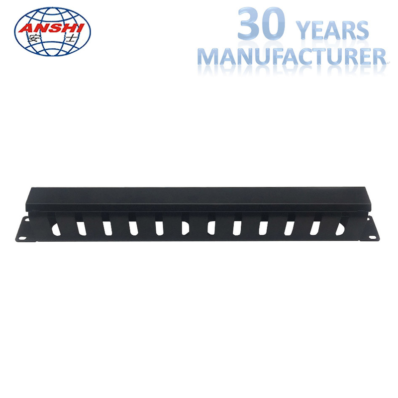 Black Horizontal Cable Management 1u Rack Mount 19 Inch With 12 Ports